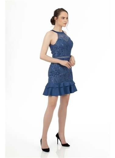 Carmen Indigo Eteği Saten Garnili Kısa Abiye Elbise İndigo